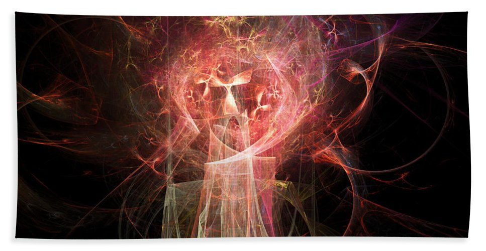 Abstract Hand Towel featuring the digital art Red Fire Angels With Tower #2 by Russell Kightley