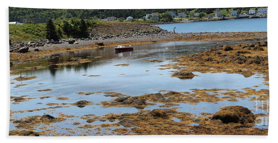 Red Flat Hand Towel featuring the photograph Red Flat At Low Tide by Barbara Griffin