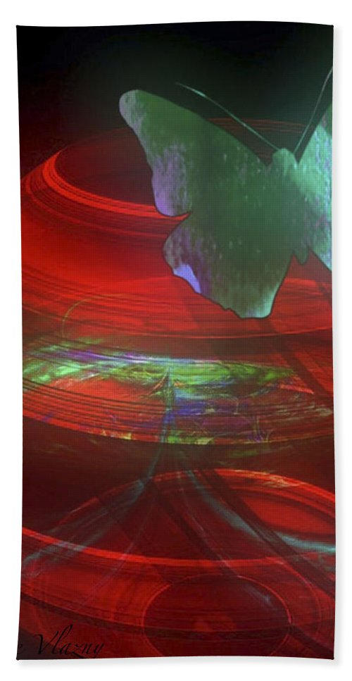 Red Fractal Bowl With Butterfly Hand Towel featuring the digital art Red Fractal Bowl With Butterfly by Femina Photo Art By Maggie