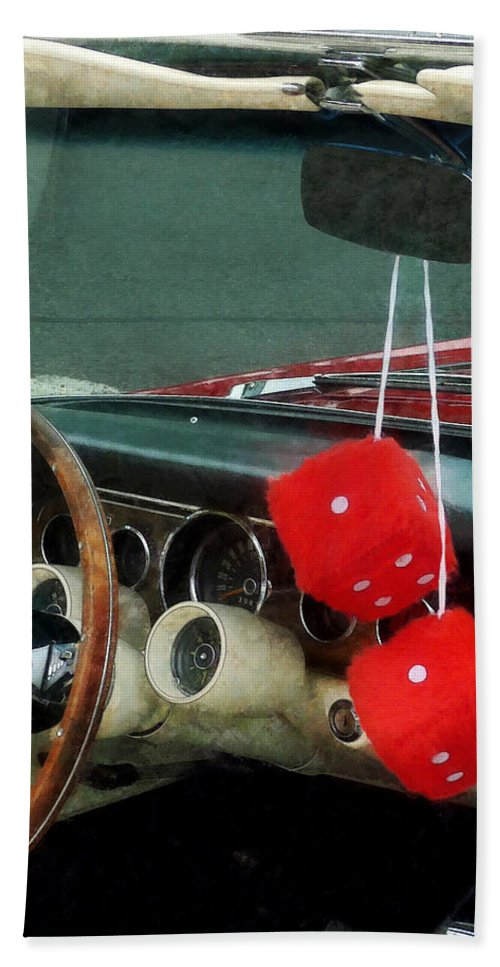 Car Bath Sheet featuring the photograph Red Fuzzy Dice In Converible by Susan Savad