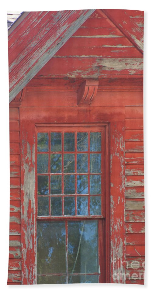Faded Hand Towel featuring the photograph Red Gable Window by Ray Konopaske