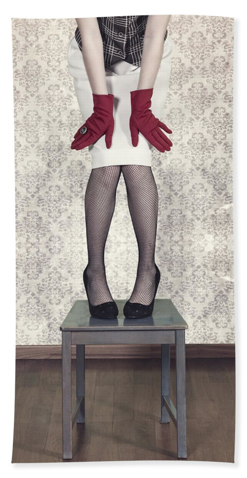 Woman Bath Sheet featuring the photograph Red Gloves by Joana Kruse