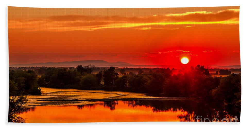 Sunset Hand Towel featuring the photograph Red Glow by Robert Bales