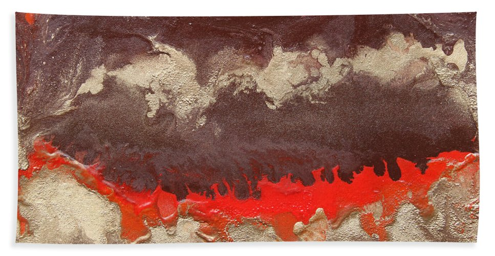 Abstract Painting Hand Towel featuring the painting Red Gold And Brown Abstract by Julia Apostolova