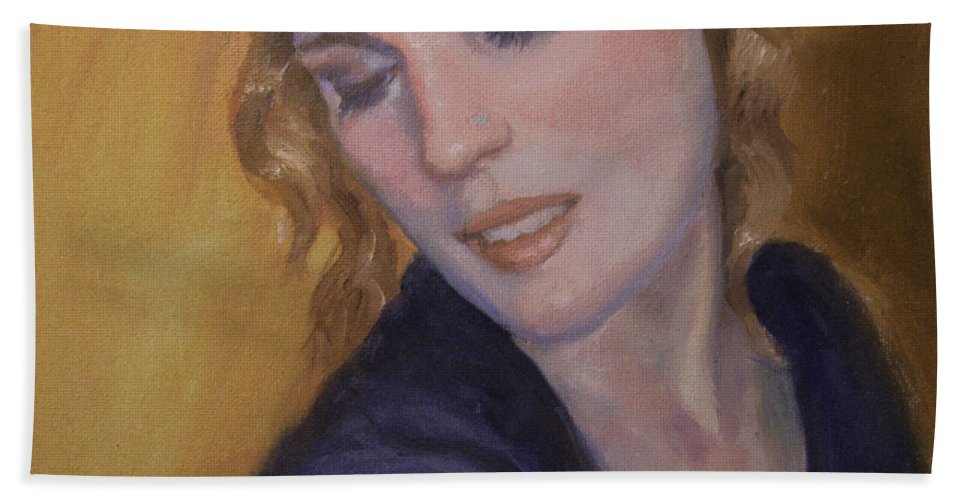 Figurative Hand Towel featuring the painting Red Hair by Sarah Parks