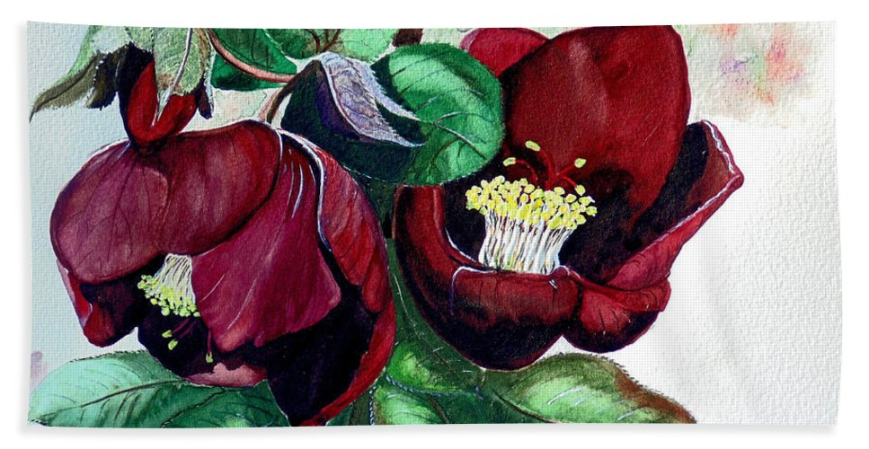 Red Helleborous Painting Flower Painting  Botanical Painting Watercolor Painting Original Painting Floral Painting Flower Painting Red Painting  Greeting Painting Bath Towel featuring the painting Red Helleborous by Karin Dawn Kelshall- Best