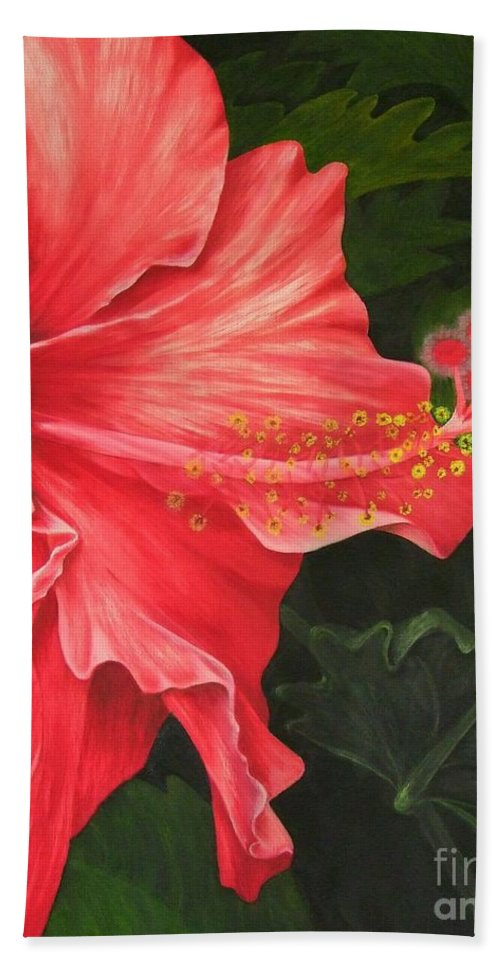 Red Flowers Hand Towel featuring the painting Red Hibiscus by Mary Deal