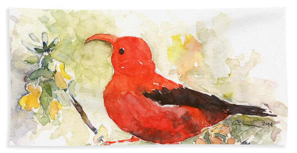 Hawaiian Bird Bath Sheet featuring the painting I'iwi - Hawaiian Red Honeycreeper by Claudia Hafner