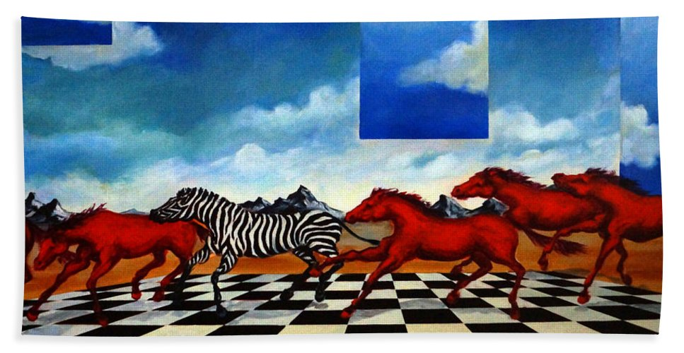 Surreal Landscape Hand Towel featuring the painting Red Horses with Zebra by Valerie Vescovi