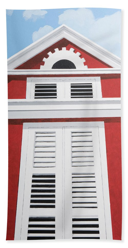 Red House Caribbean Curacao Aruba Antilles Architecture Sun Art Hand Towel featuring the painting Red House by Trudie Canwood