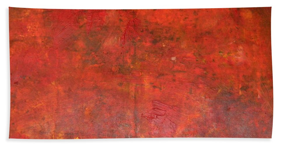 Red Jasper Bath Sheet featuring the painting Red Jasper Stone by Owl's View Studio