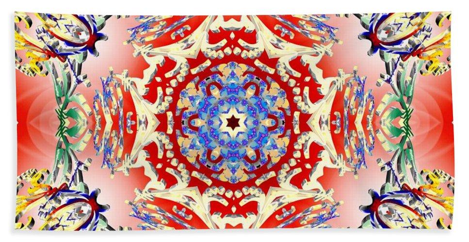 Sacredlife Mandalas Hand Towel featuring the digital art Red Karma by Derek Gedney