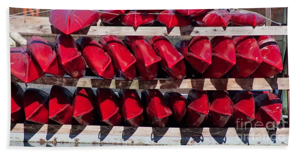 Color Hand Towel featuring the photograph Red Kayaks by Thomas Marchessault