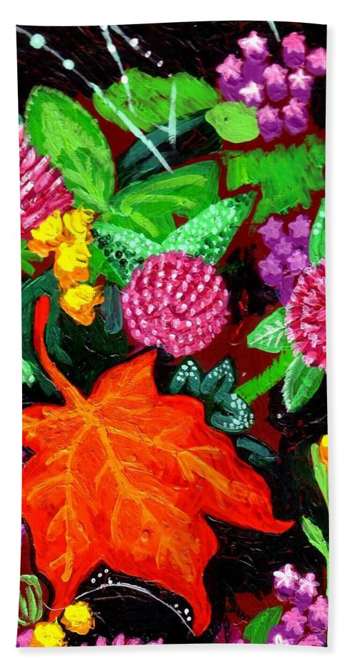 Leaf Hand Towel featuring the painting Red Leaf by Genevieve Esson