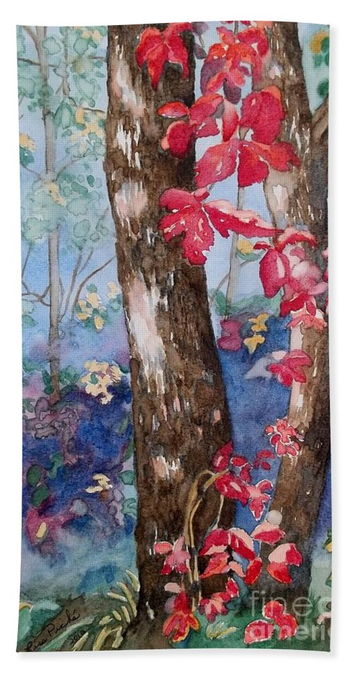 Red Leaves Hand Towel featuring the painting Red Leaves by Lise PICHE