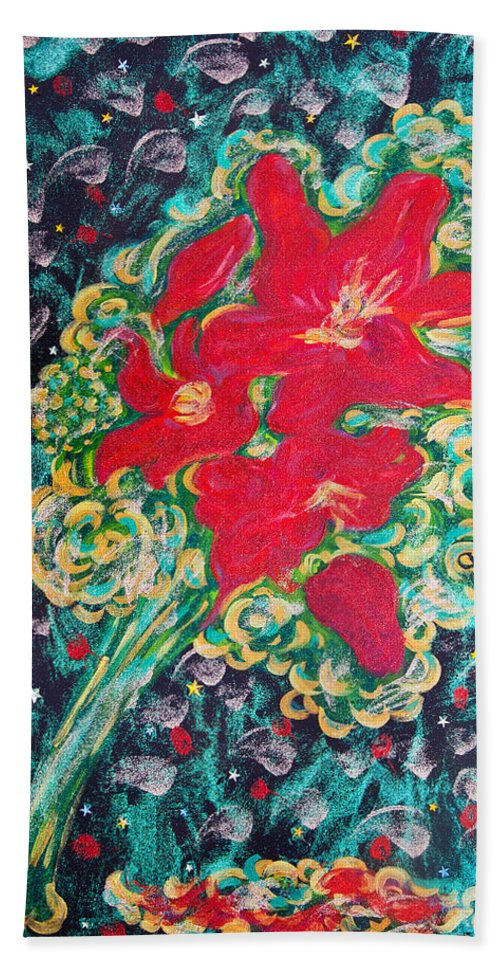 Red Lilies Bath Sheet featuring the painting Red Lilies by Alex Art and Photo