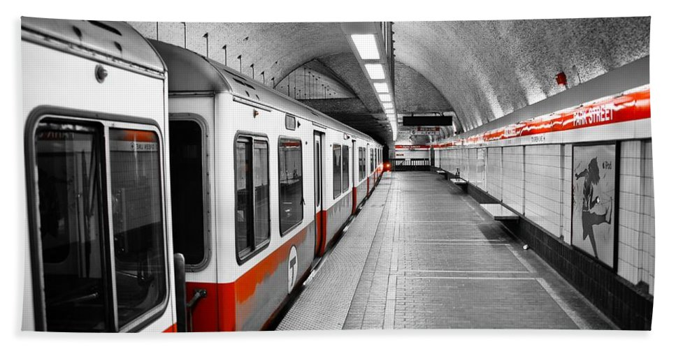 Red Bath Towel featuring the photograph Red Line by Charles Dobbs