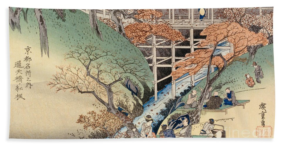 Riverbank Hand Towel featuring the painting Red Maple Leaves At Tsuten Bridge by Ando Hiroshige