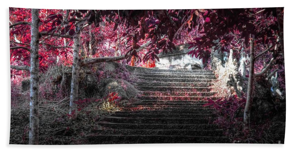 Nature Bath Sheet featuring the photograph red by Michelle Meenawong