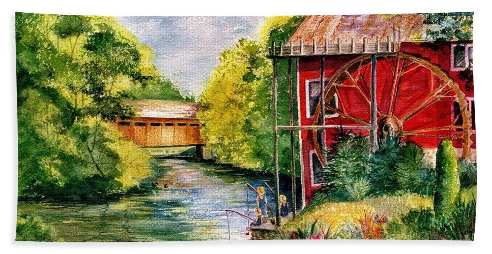 Landscape Bath Sheet featuring the painting Red Mill At Waupaca by Marilyn Smith