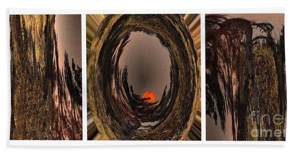 Red Moon Hand Towel featuring the digital art Red Moon Rising - Abstract - Triptych by Barbara Griffin