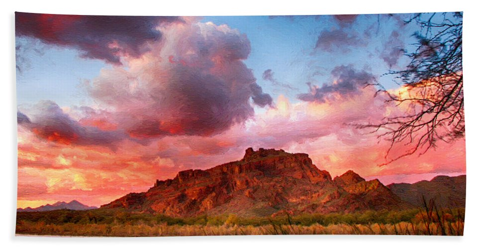 Mesa Bath Sheet featuring the painting Red Mountain Sunset by John Haldane