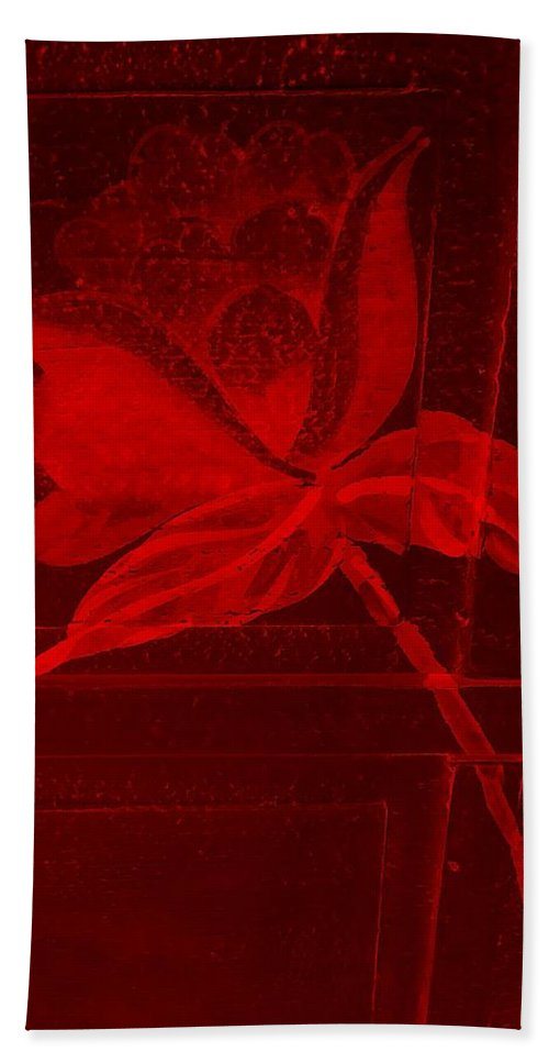 Flowers Hand Towel featuring the photograph Red Negative Wood Flower by Rob Hans