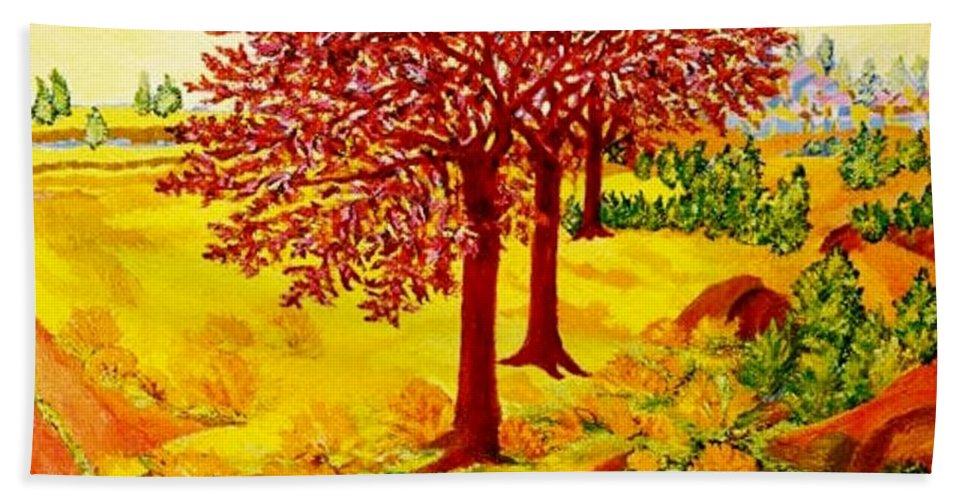 Red Oaks Trees Bath Sheet featuring the painting Red Oaks Pop Art by Gunter Hortz