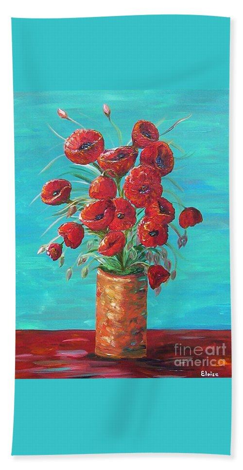 Poppy Bath Towel featuring the painting Red On My Table by Eloise Schneider