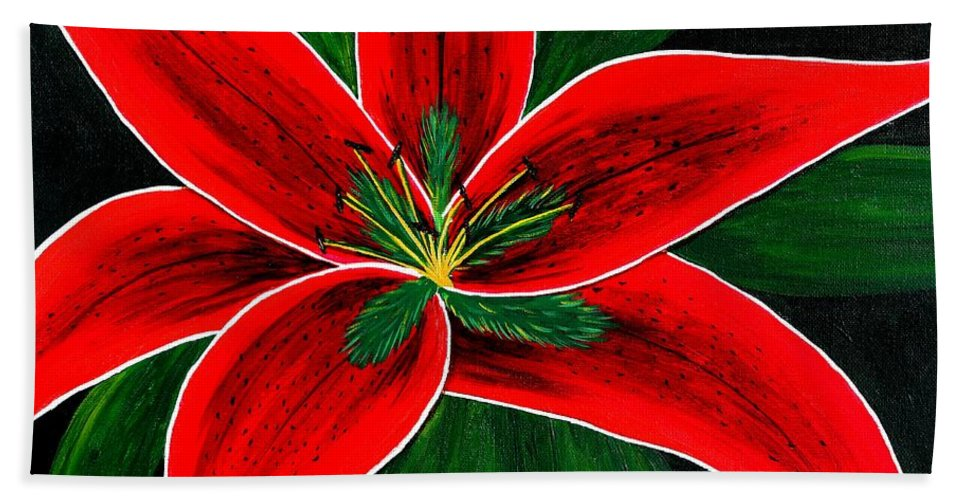 Red Oriental Lily Hand Towel featuring the painting Red Oriental Lily by Barbara Griffin