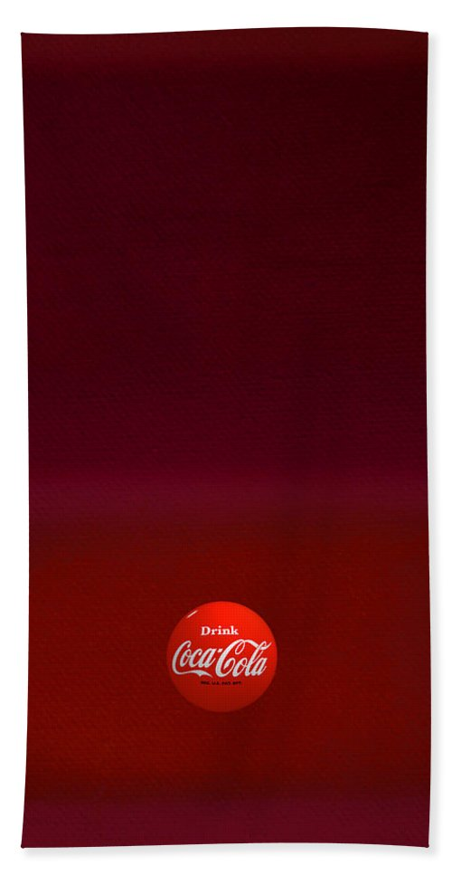 Coca-cola Hand Towel featuring the painting Red Over Red by Charles Stuart
