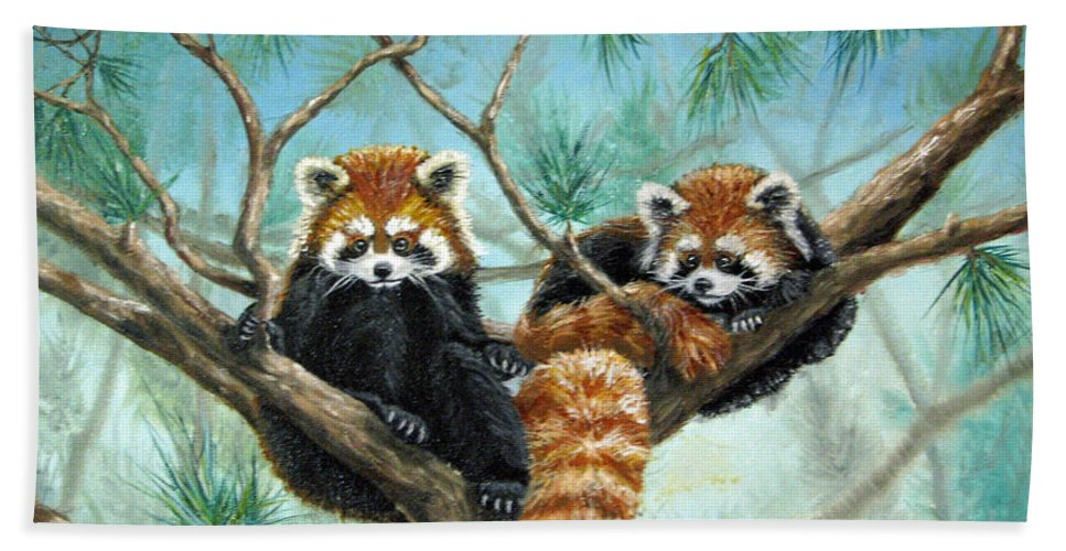 The Other Panda Bath Sheet featuring the painting Red Pandas by Beverly Fuqua