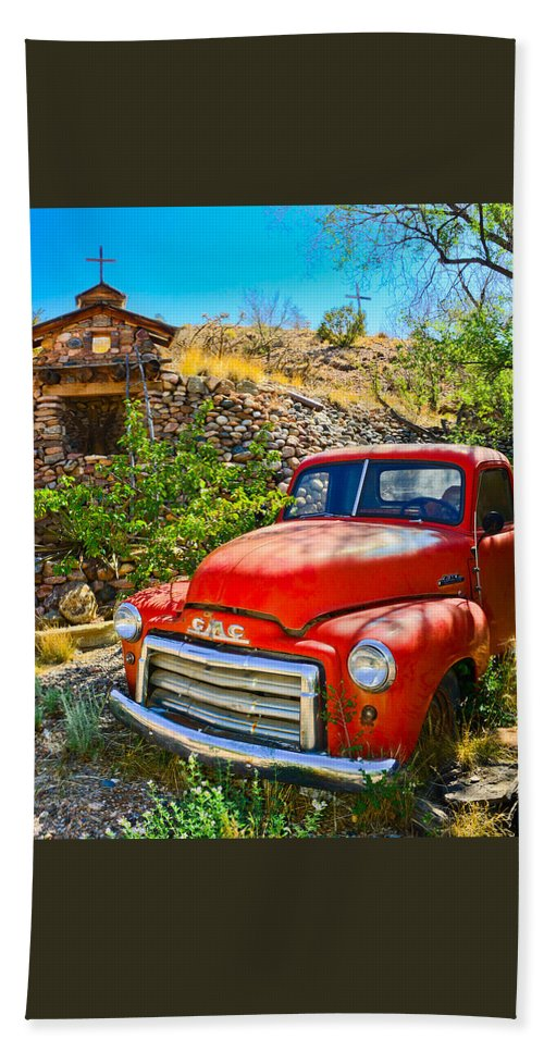 Automobile Bath Sheet featuring the photograph Red Pickup Truck At Santa Fe by Jeff Black