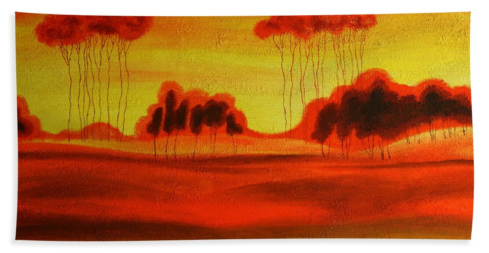 Love Paintings Paintings Bath Sheet featuring the painting Red Planet by Leon Zernitsky