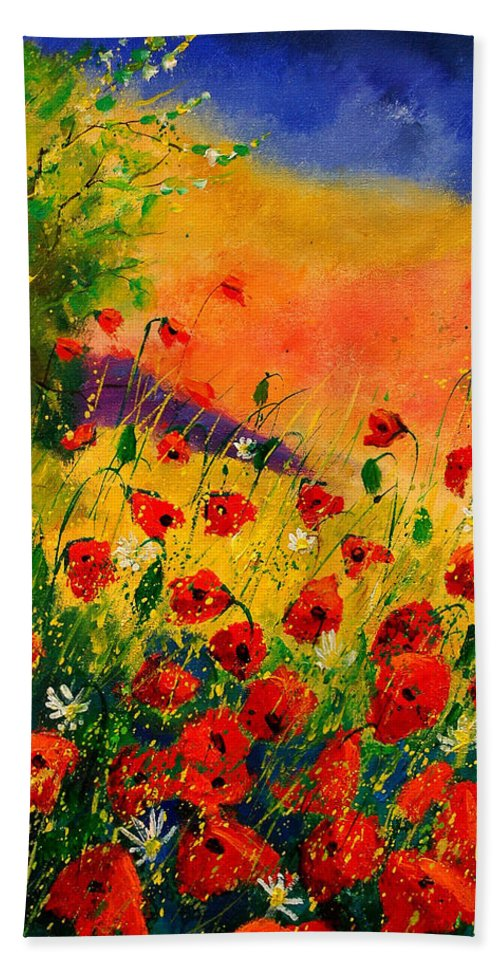 Poppies Bath Towel featuring the painting Red Poppies 45 by Pol Ledent