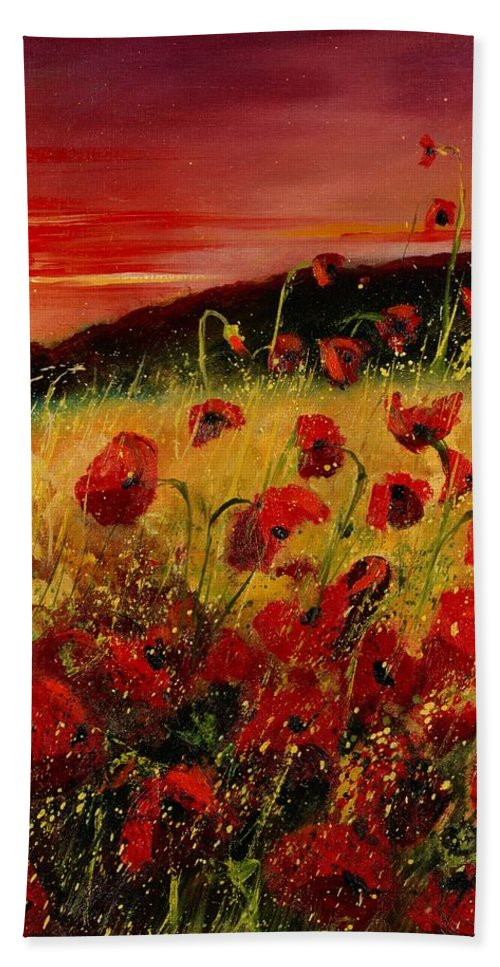 Poppies Hand Towel featuring the painting Red Poppies And Sunset by Pol Ledent