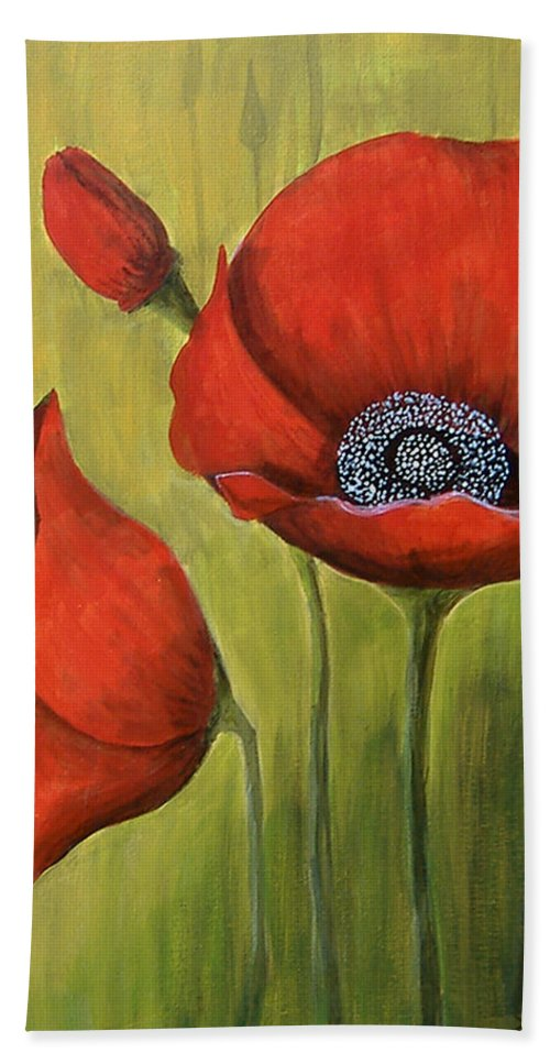 Poppy Bath Sheet featuring the painting Red Poppies by Lee Owenby