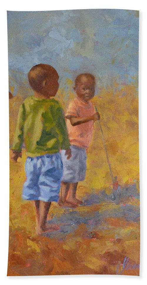 Figures Hand Towel featuring the painting Red Push Toy by Yvonne Ankerman