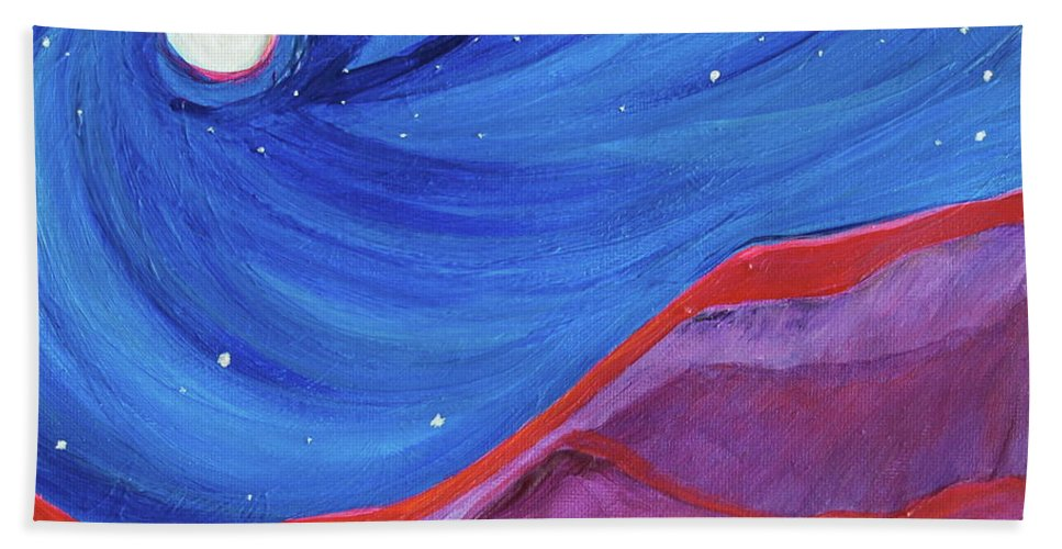 Landscape Hand Towel featuring the painting Red Ridge By Jrr by First Star Art