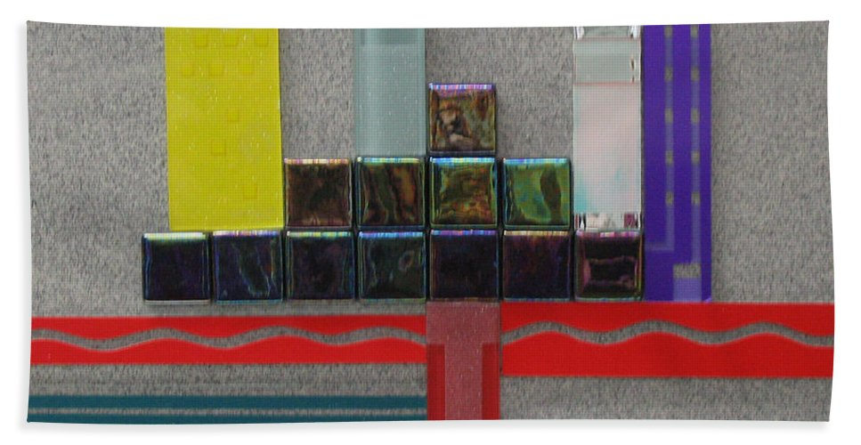 Assemblage Bath Towel featuring the relief Red River City by Elaine Booth-Kallweit