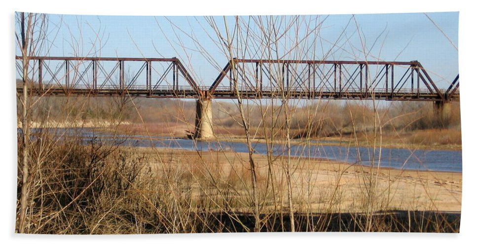 Red River I 35 Train Trussell Bath Sheet featuring the photograph Red River Train Trussell by Amy Hosp