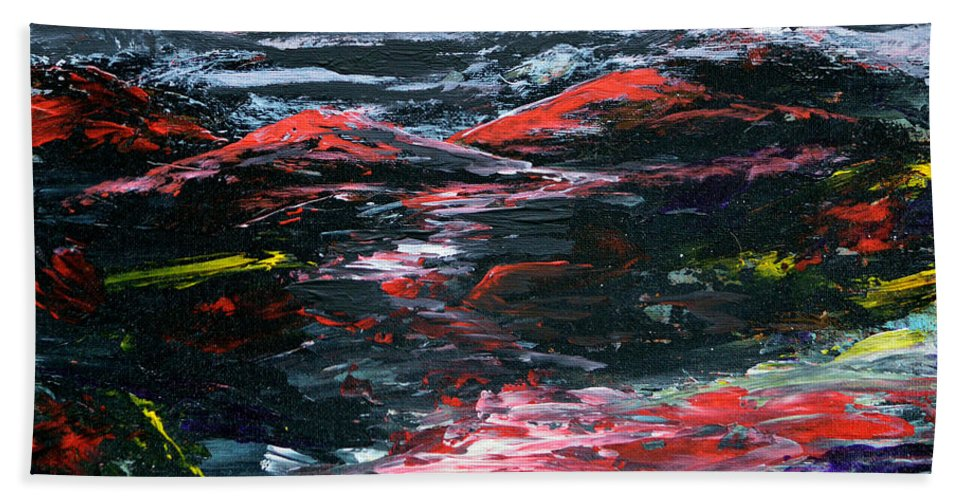Abstract Hand Towel featuring the painting Red River Valley by Alys Caviness-Gober