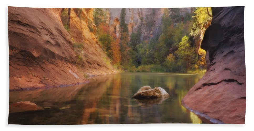West Fork Oak Creek Canyon Bath Sheet featuring the photograph Red Rock Autumn by Peter Coskun