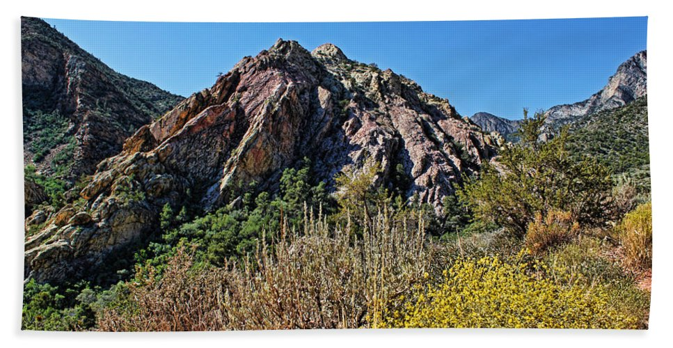 Red Rock Canyon Bath Sheet featuring the photograph Red Rock Canyon With Foliage by Judy Vincent