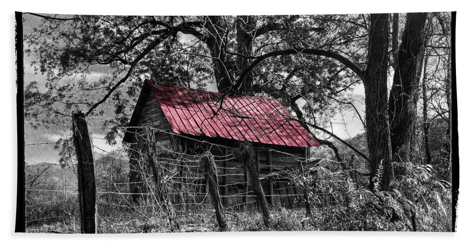 Andrews Bath Sheet featuring the photograph Red Roof by Debra and Dave Vanderlaan