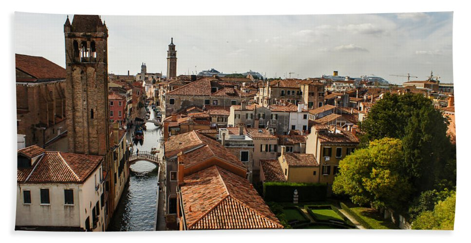 Venice Bath Sheet featuring the photograph Red Roofs Of Europe - Venetian Canal Palaces Gardens And Courtyards by Georgia Mizuleva