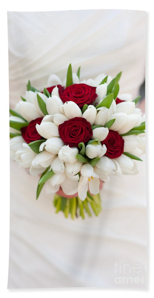 Bouquet Bath Sheet featuring the photograph Red Rose And White Tulip Wedding Bouquet by Lee Avison