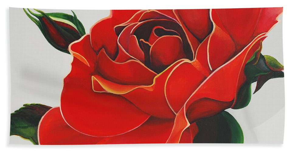 Red Rose Bath Sheet featuring the painting Red Rose by Catt Kyriacou