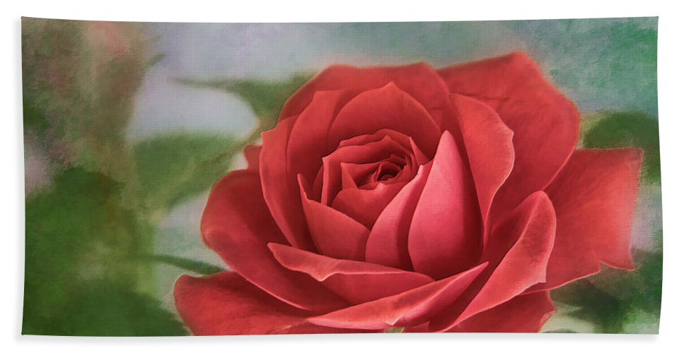 Bloom Bath Sheet featuring the photograph Red Rose II by David and Carol Kelly