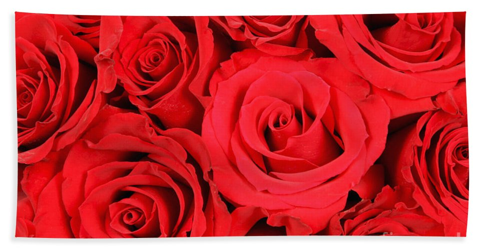 Flora Bath Sheet featuring the photograph Red Roses by David Davis